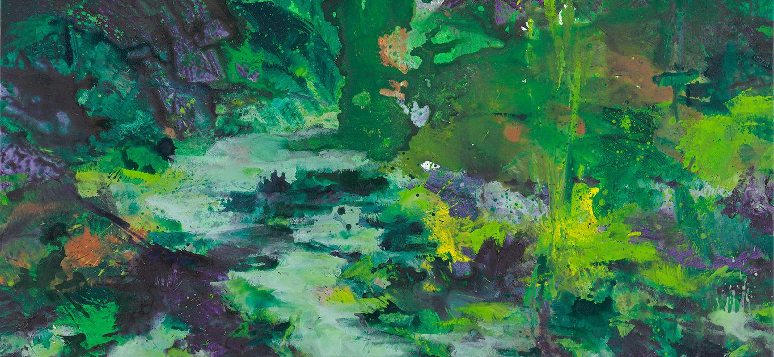 Ausschnitt aus einem Gemälde von Bernd Zimmer; eine Wasserlauf und dichter Pflanzenwuchs sind in abstrahierter Darstellung zu sehen; es dominiert die Farbe grün