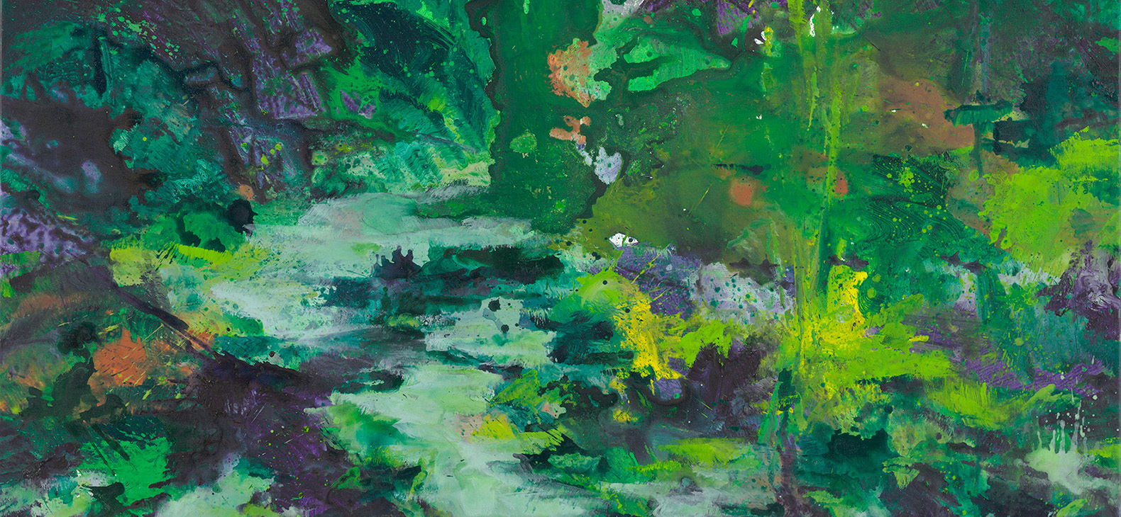 Detail of a painting by Bernd Zimmer; a watercourse and vegetal cover in an expressive manner of painting are visible; green is the dominant color