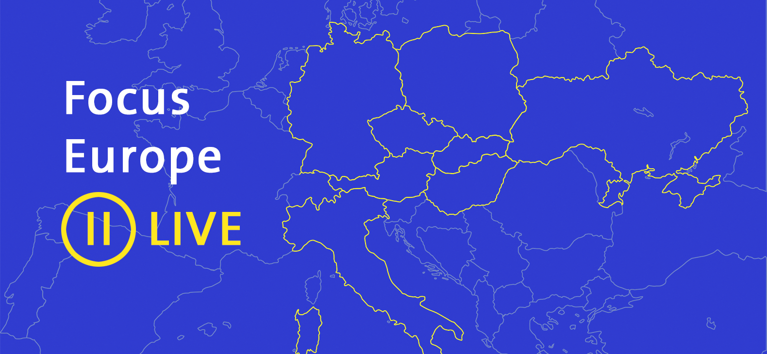 Focus Europe II LIVE - title over a blue map of Europe with hilighted borders of the partner countries