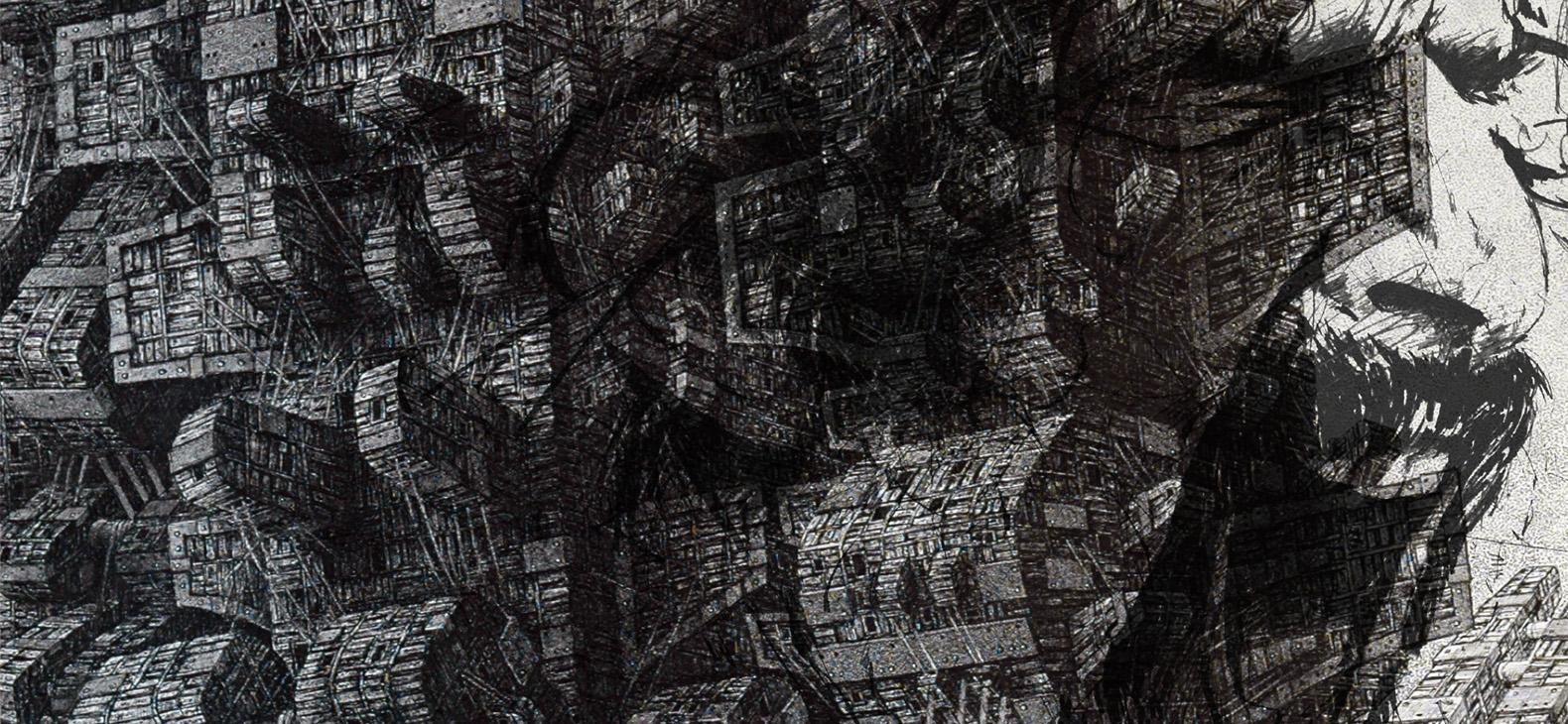 Halbabstrakte Schwarzweiß-Zeichnung mit maschinenartigen Elementen und einem Frank Zappa-Portrait