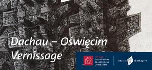 Vernissage Dachau-Oswiecim, im Hintergrund Zeichnung von Paweł Warchoł