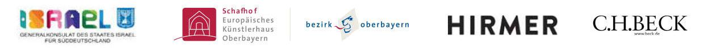 Logos der Unterstützer: Generalkonsulat des Staates Israel für Süddeutschland / Schafhof / Hirmer Verlag / C.H.Beck