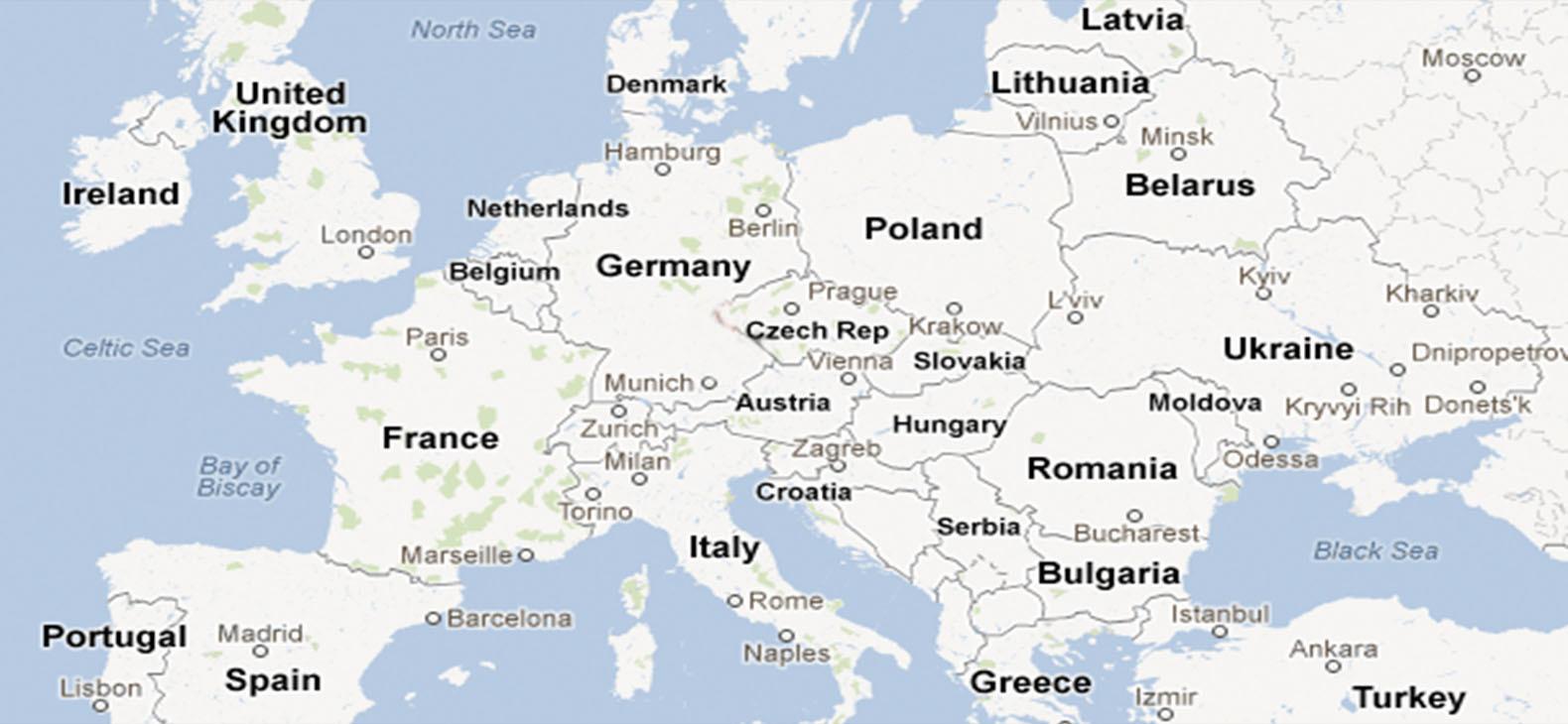 Europakarte mit den Orten, an denen ein Künstleraustausch des Schafhofs stattfand
